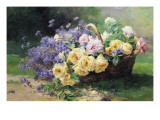Basket of Flowers Giclee Print by Albert Tibule Furcy de Lavault