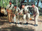 Louis de Funès, Michel Galabru, Jean Lefèvre et Christian Marin : Le Gendarme de Saint-Tropez, 1964 Papier Photo par Marcel Dole