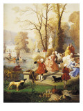 Elegant Women in Versailles Giclee Print by Jules Achille Noel