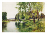A River Landscape in Summer Giclee Print by Ernest Parton