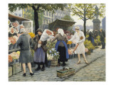 Flower Market at Hojbro Plads Giclee Print by Paul Gustav Fischer