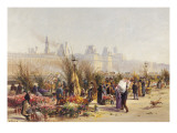 Flowers Sellers on the Banks of the Seine Giclee Print by Gustave Fraipont