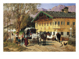 A Village Gathering in Bavaria Giclee Print by Lorenzo Il Quaglio