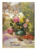 Still Life of Summer Flowers and Fruit Giclee Print by Marie Felix Hippolyte-Lucas