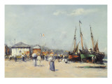 The Beach at Deauville Giclee Print by Charles Malfroy