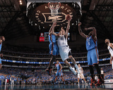 Oklahoma City Thunder v Dallas Mavericks - Game Two, Dallas, TX - MAY 19: Dirk Nowitzki, Serge Ibak Photographic Print by Danny Bollinger