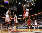 Chicago Bulls v Miami Heat - Game Four, Miami, FL - MAY 24: Derrick Rose, Joel Anthony, LeBron Jame Photographic Print by Mike Ehrmann