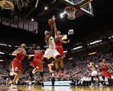 Chicago Bulls v Miami Heat - Game Four, Miami, FL - MAY 24: LeBron James, Joakim Noah, Luol Deng, C Photo by Mike Ehrmann
