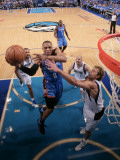 Oklahoma City Thunder v Dallas Mavericks - Game Two, Dallas, TX - MAY 19: Russell Westbrook and Dir Photographic Print by Glenn James