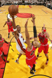 Chicago Bulls v Miami Heat - Game Three, Miami, FL - MAY 22: Chris Bosh, Taj Gibson Photographic Print by Victor Baldizon