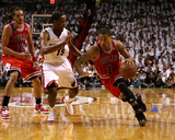 Chicago Bulls v Miami Heat - Game Three, Miami, FL - MAY 22: Derrick Rose and Mario Chalmers Photo by Marc Serota