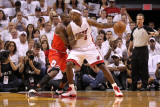 Chicago Bulls v Miami Heat - Game Three, Miami, FL - MAY 22: LeBron James and Luol Deng Photographic Print by Mike Ehrmann