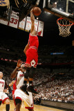 Chicago Bulls v Miami Heat - Game Four, Miami, FL - MAY 24: Derrick Rose, LeBron James Photographic Print by Issac Baldizon