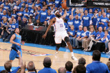 Dallas Mavericks v Oklahoma City Thunder - Game Three, Oklahoma City, OK - MAY 21: James Harden and Photographic Print by Joe Murphy