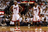 Chicago Bulls v Miami Heat - Game Three, Miami, FL - MAY 22: LeBron James and Dwyane Wade Photographic Print by Marc Serota