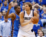 Oklahoma City Thunder v Dallas Mavericks - Game Two, Dallas, TX - MAY 19: Dirk Nowitzki and Kevin D Photo by Ronald Martinez