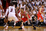Chicago Bulls v Miami Heat - Game Four, Miami, FL - MAY 24: Derrick Rose, Dwyane Wade Photographic Print by Mike Ehrmann