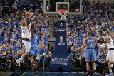 Oklahoma City Thunder v Dallas Mavericks - Game Two, Dallas, TX - MAY 19: Dirk Nowitzki and Serge I Photographic Print by Glenn James