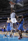 Oklahoma City Thunder v Dallas Mavericks - Game Two, Dallas, TX - MAY 19: Brendan Haywood, Serge Ib Photographic Print by Danny Bollinger