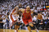 Chicago Bulls v Miami Heat - Game Three, Miami, FL - MAY 22: Carlos Boozer and Joel Anthony Photographic Print by David Dow