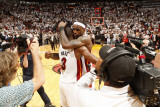 Chicago Bulls v Miami Heat - Game Four, Miami, FL - MAY 24: LeBron James and Dwyane Wade Photographic Print by Victor Baldizon