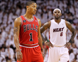 Chicago Bulls v Miami Heat - Game Three, Miami, FL - MAY 22: Derrick Rose Foto af Mike Ehrmann