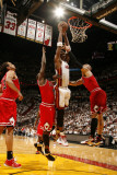 Chicago Bulls v Miami Heat - Game Four, Miami, FL - MAY 24: Chris Bosh, Carlos Boozer and Luol Deng Photographic Print by Issac Baldizon