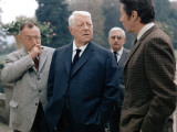 Jacques Monod, Jean Gabin and Michel Auclair: Sous Le Signe Du Taureau, 1968 Fotografie-Druck von Marcel Dole