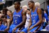 Oklahoma City Thunder v Dallas Mavericks - Game Two, Dallas, TX - MAY 19: Kendrick Perkins and Kevi Photographic Print by Tom Pennington