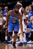 Oklahoma City Thunder v Dallas Mavericks - Game Two, Dallas, TX - MAY 19: James Harden Photographic Print by Tom Pennington