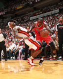 Chicago Bulls v Miami Heat - Game Three, Miami, FL - MAY 22: Luol Deng, LeBron James Photographic Print by Victor Baldizon