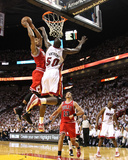 Chicago Bulls v Miami Heat - Game Four, Miami, FL - MAY 24: Derrick Rose and Joel Anthony Photographic Print by Mike Ehrmann