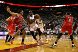 Chicago Bulls v Miami Heat - Game Four, Miami, FL - MAY 24: Dwyane Wade, Joakim Noah and Luol Deng Photographic Print by Marc Serota