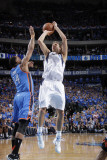 Oklahoma City Thunder v Dallas Mavericks - Game Two, Dallas, TX - MAY 19: Dirk Nowitzki and Daequan Photographic Print by Glenn James