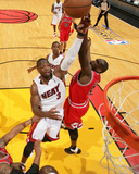 Chicago Bulls v Miami Heat - Game Four, Miami, FL - MAY 24: Dwyane Wade and Luol Deng Photographic Print by Victor Baldizon