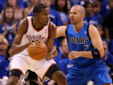 Dallas Mavericks v Oklahoma City Thunder - Game Four, Oklahoma City, OK - MAY 23: Kevin Durant and  Photographic Print by Christian Petersen