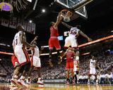 Mike Ehrmann - Chicago Bulls v Miami Heat - Game Four, Miami, FL - MAY 24: Derrick Rose, Joel Anthony and LeBron J Photo