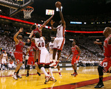 Chicago Bulls v Miami Heat - Game Four, Miami, FL - MAY 24: LeBron James and Joakim Noah Photographic Print by Marc Serota