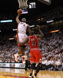 Chicago Bulls v Miami Heat - Game Four, Miami, FL - MAY 24: LeBron James and Luol Deng Photographic Print by Mike Ehrmann