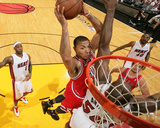 Chicago Bulls v Miami Heat - Game Four, Miami, FL - MAY 24: Derrick Rose and Joel Anthony Photographic Print by Victor Baldizon