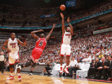 Chicago Bulls v Miami Heat - Game Three, Miami, FL - MAY 22: LeBron James and Luol Deng Photographic Print by Victor Baldizon