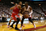 Chicago Bulls v Miami Heat - Game Three, Miami, FL - MAY 22: Derrick Rose and Dwyane Wade Photographic Print by Marc Serota