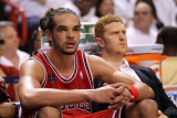 Chicago Bulls v Miami Heat - Game Three, Miami, FL - MAY 22: Joakim Noah and Brian Scalabrine Photographic Print by Mike Ehrmann
