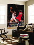 New Jersey Nets v New York Knicks: Raymond Felton and Johan Petro Wall Mural by Nick Laham