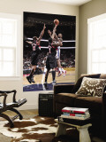 Portland Trail Blazers v New Jersey Nets: Damion James, Dante Cunningham and Wesley Matthews Wall Mural by David Dow