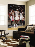 Phoenix Suns v Miami Heat: Dwyane Wade, LeBron James and Chris Bosh Wall Mural by Andrew Bernstein