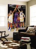 Detroit Pistons v Golden State Warriors: Andris Biedrins, Vladimir Radmanovic and Ben Wallace Wall Mural by Rocky Widner