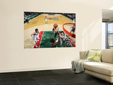Indiana Pacers v Milwaukee Bucks: Ersan Ilyasova and Roy Hibbert Wall Mural by Gary Dineen