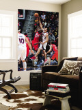 New Jersey Nets v Atlanta Hawks: Johan Petro and Zaza Pachulia Wall Mural by Scott Cunningham