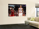 Miami Heat v Chicago Bulls - Game Two, Chicago, IL - MAY 18: Derrick Rose and LeBron James Wall Mural by Gregory Shamus